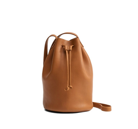 Drawstring Leather Purse - Caramel