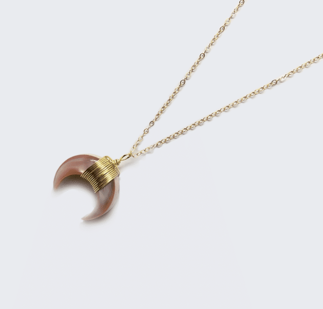 Pink Wood Crescent Moon Necklace