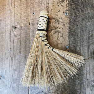 Salt & Spruce Handcrafted Turkey Wing Broom with Braiding