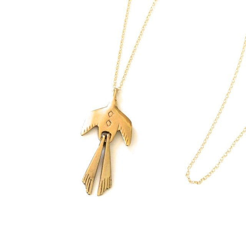 Bird Pendant Brass Necklace