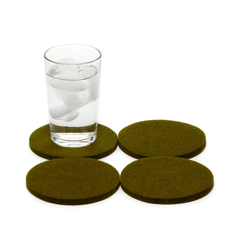 Round Felt Coasters in Moss