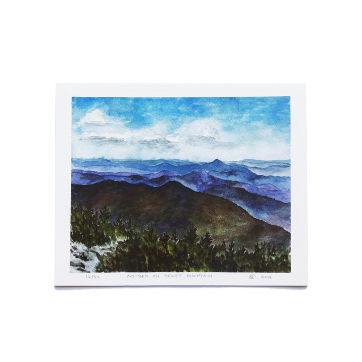 "This is Vermont Print Series 3 - ""October on Dewey Mountain"" 8 x 10"
