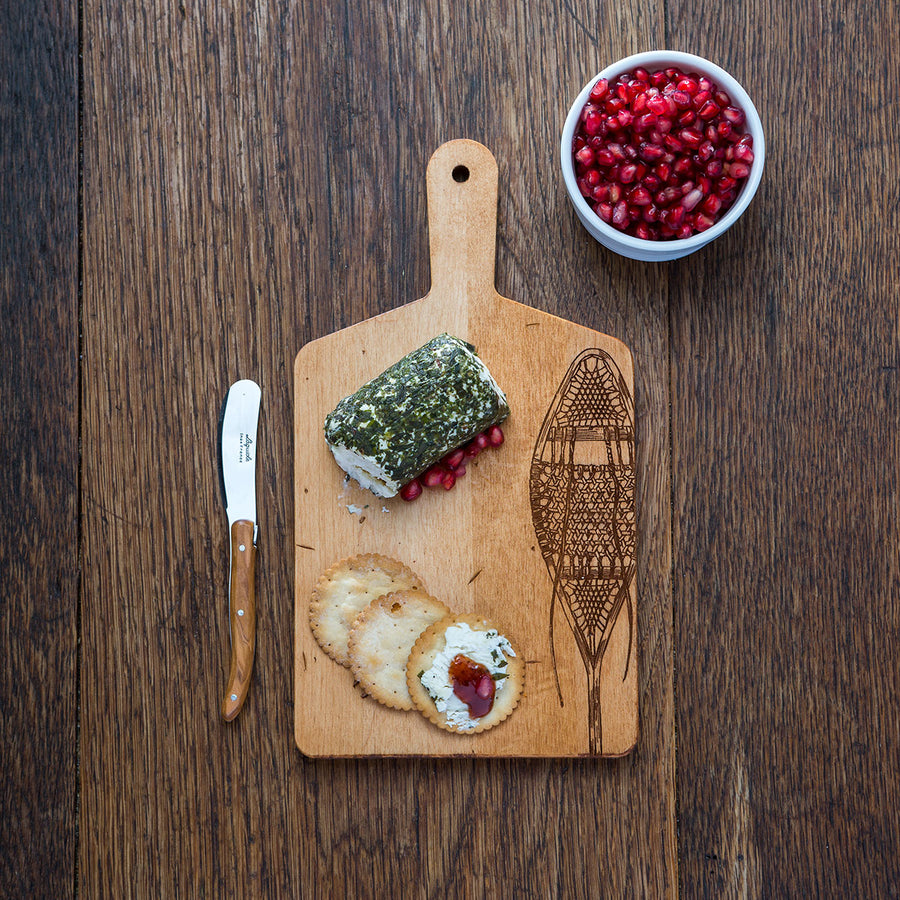 Maple Cheese Board with Vintage Snowshoe