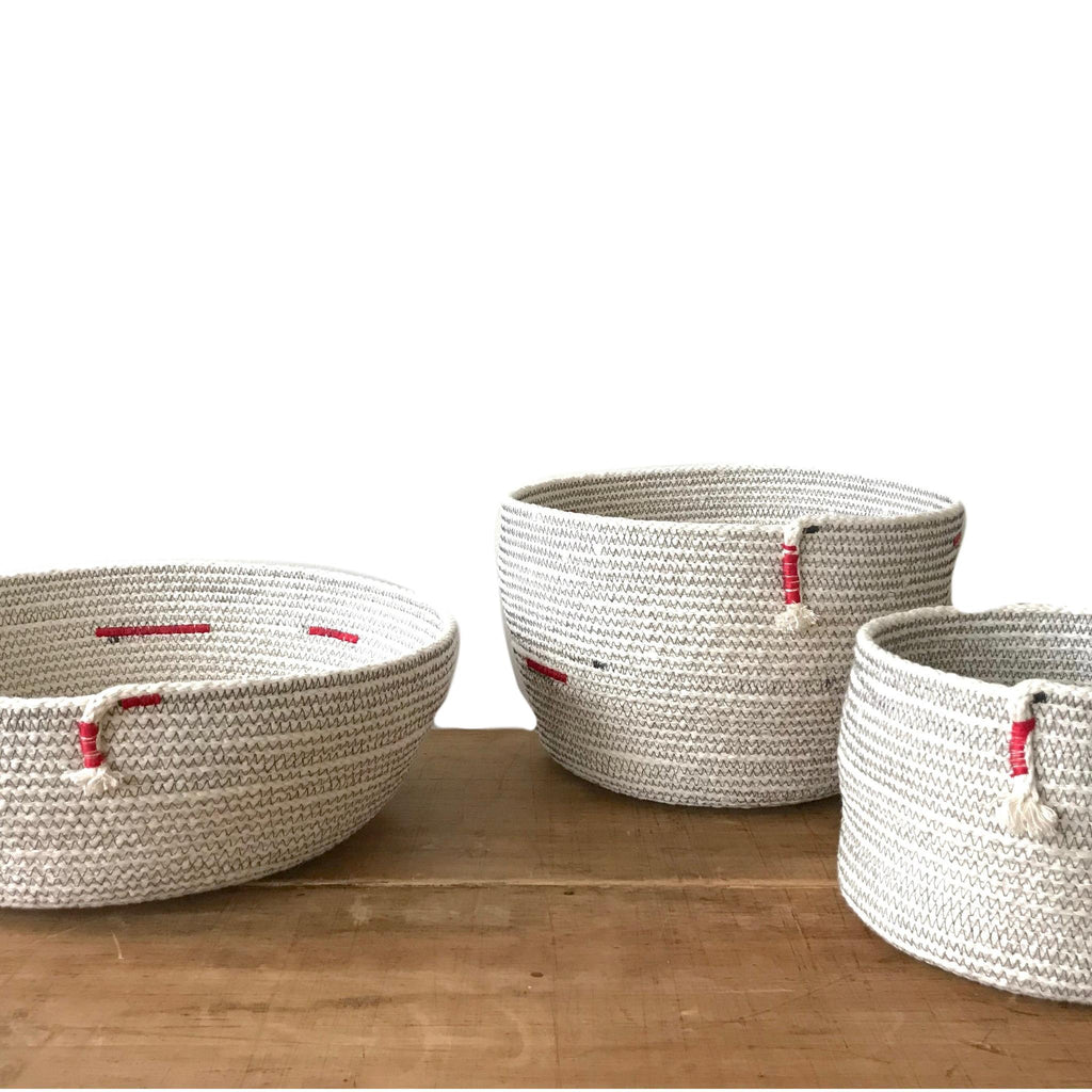 Red and White Hand Woven Baskets