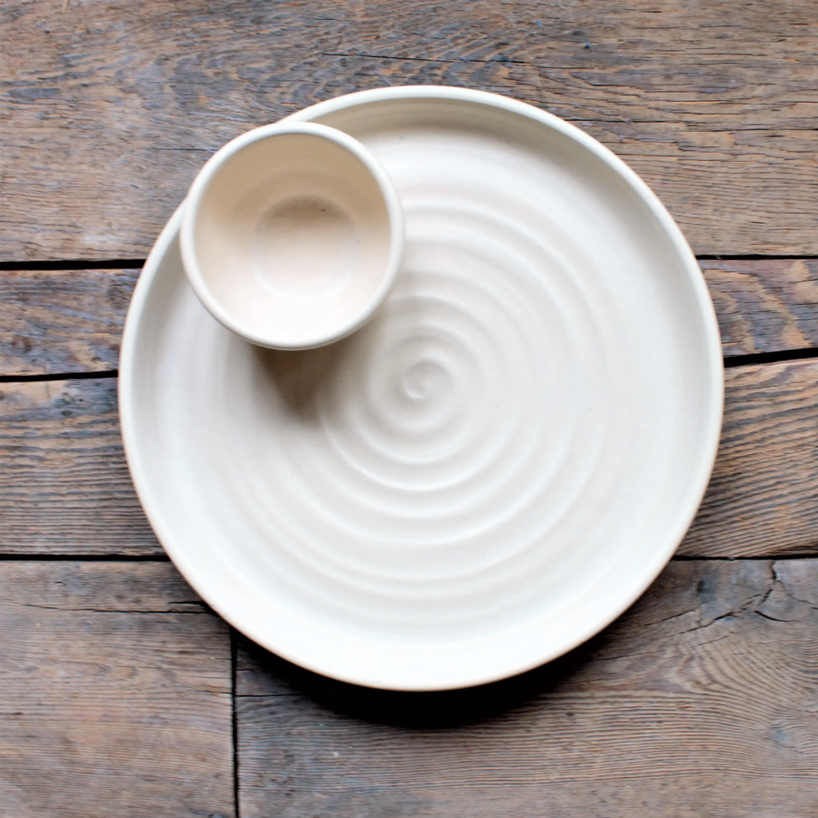 Ridges Chip & Dip Set - Drift White