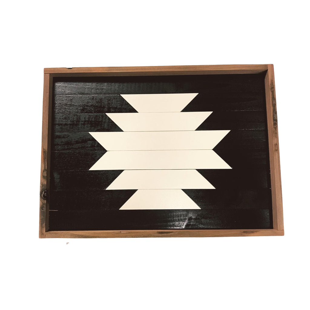 Handmade Reclaimed Wood Tray - Black & White Geometric