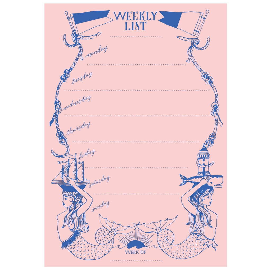 Mermaid Pink and Blue List Pad