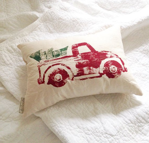 Truck and Tree Pillow