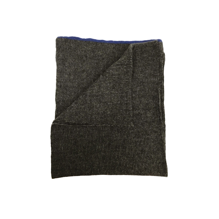 Ribbed Alpaca Scarf - Black/Charcoal