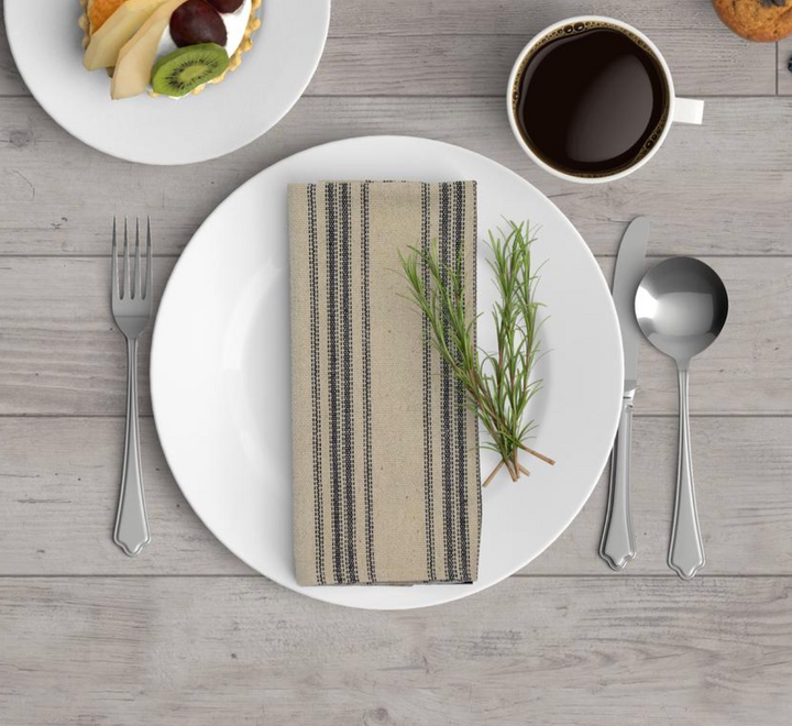 Grain Sack Cotton Napkins - Blue Twelve Stripe