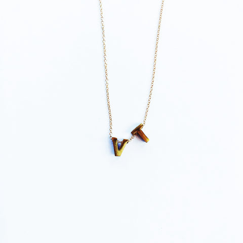 Tiny Brass VT Necklace
