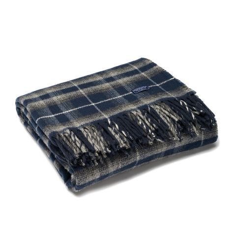 Dark Blue and Grey Plaid Wool Throw