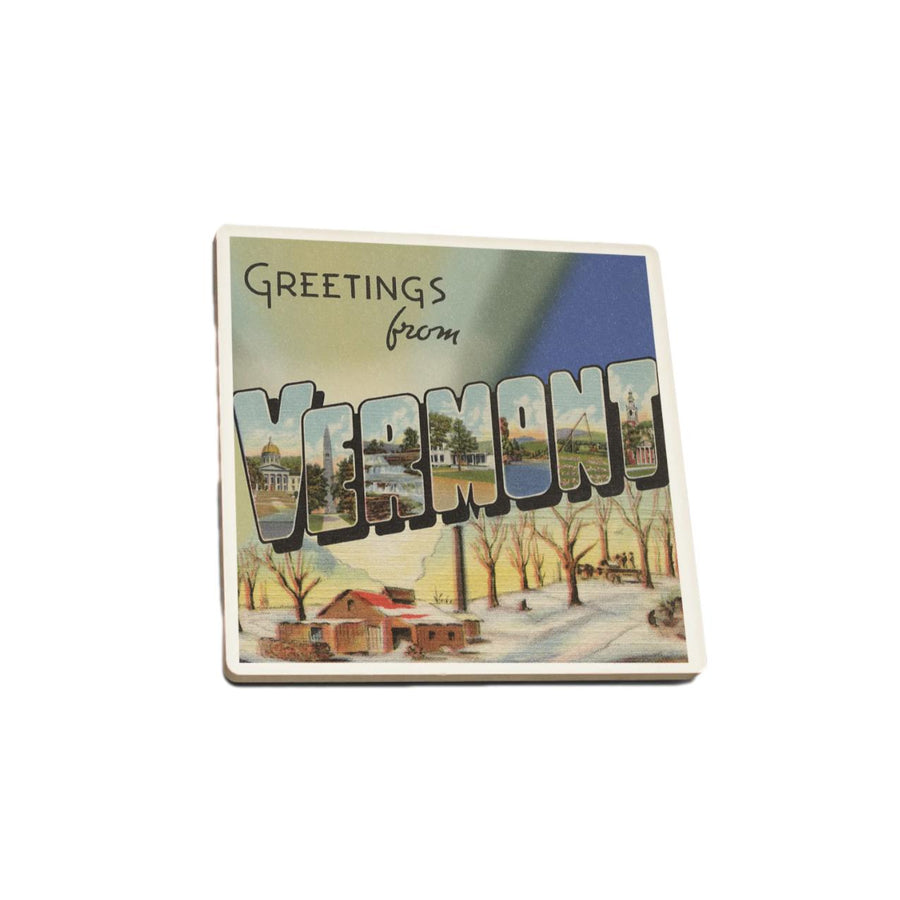 Single Ceramic Coaster - Greetings From Vermont