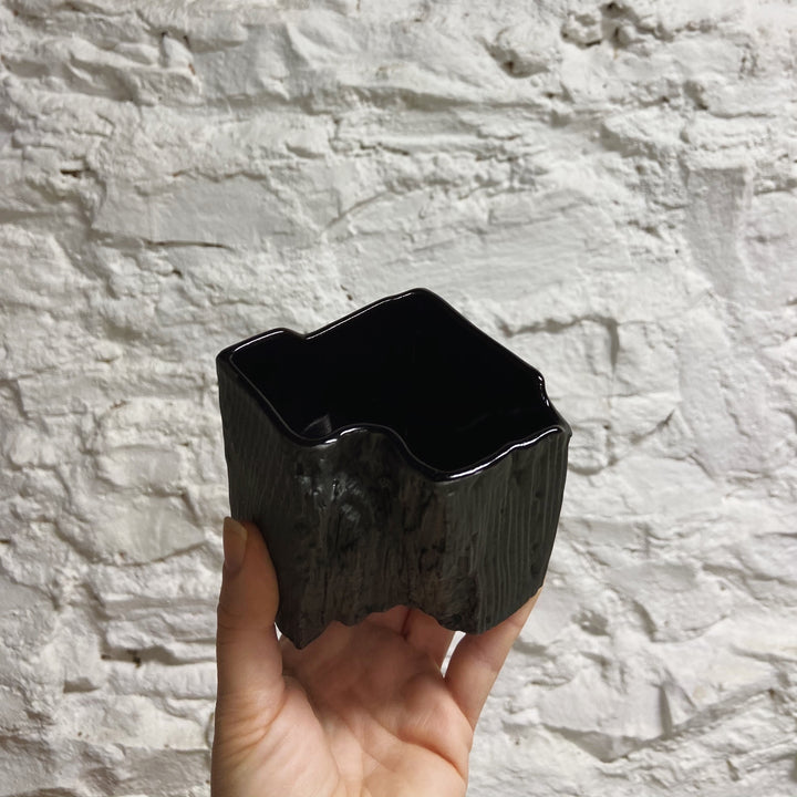 """Petrified Wood"" Porcelain Container - Black"