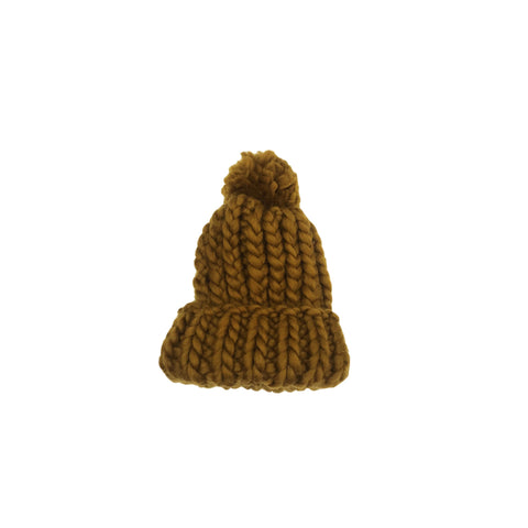 Luxurious Hand-Knit Wool Baby Beanie - Turmeric