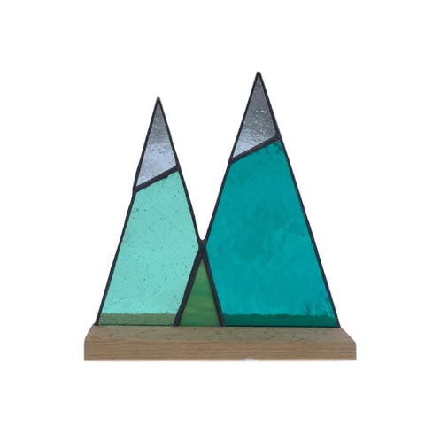 Stained Glass Mountain Range with Wooden Stand