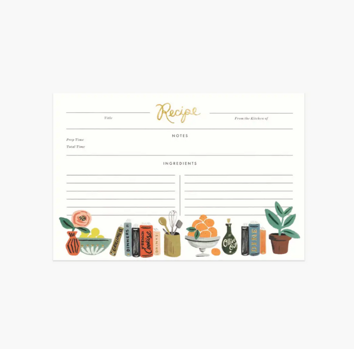 Pack of 12 Recipe Cards - Kitchen Shelf