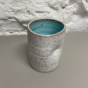 Hand-thrown Thumb Cupper - White Speckle / Ocean