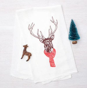 Flour sack Tea Towel - Deer Holiday