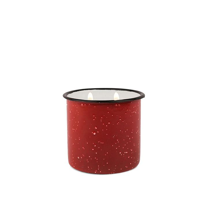 Pomegranate and Spruce Alpine Enamel Cup Candle