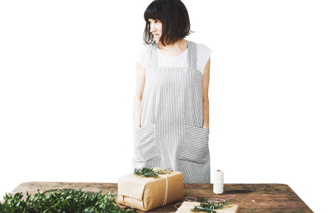 French Ticking Pinafore Apron