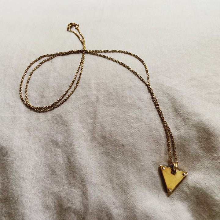 Riveted Triangle Necklace Brass