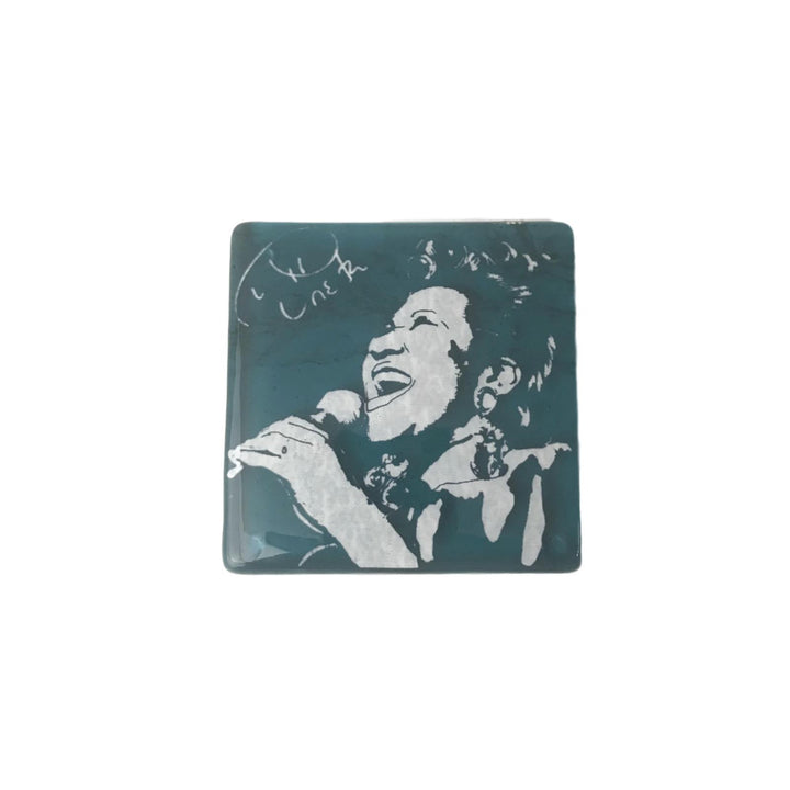 Aretha Franklin Glass Coaster