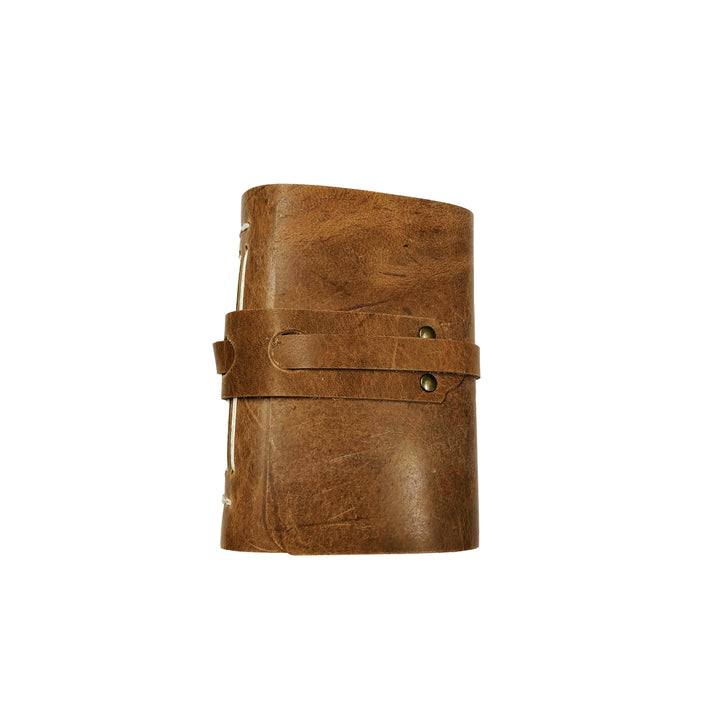 Small Long Stitch Refillable Leather Notebook - Tan