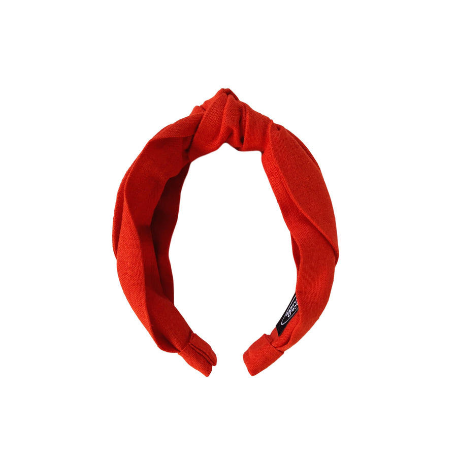Linen Top Knot Headband - Tomato