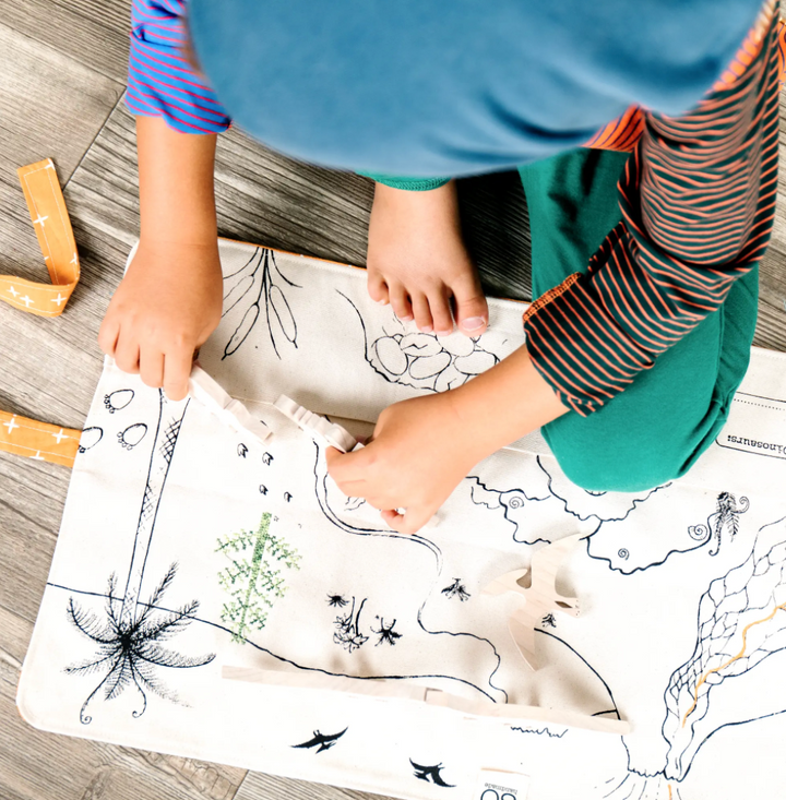 Organic Cotton Dinosaur Playmat with Wooden Dinos