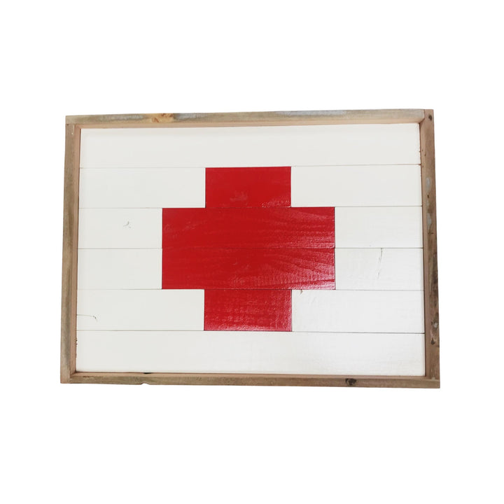 Handmade Reclaimed Wood Tray - Swiss Cross