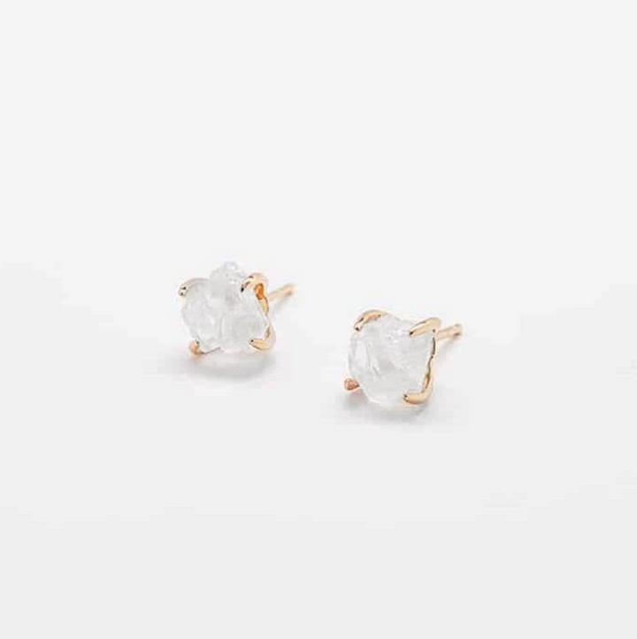 White Quartz Gold Claw Stud Earrings