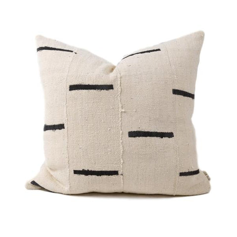 White and Black Ula Mudcloth Pillow