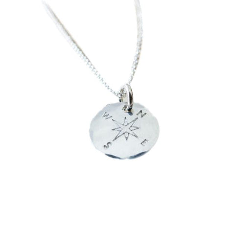 Round Compass Necklace in Sterling Silver