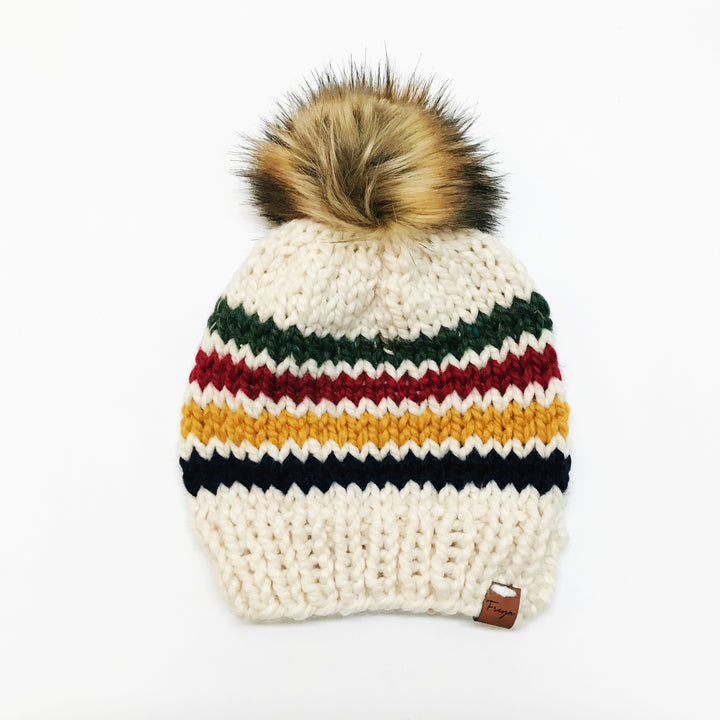Hand Knit Hudson Bay Beanie with Faux Fur Pom
