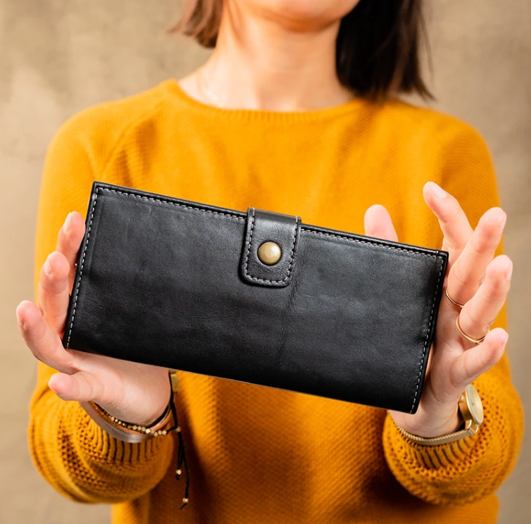 Jackie Long Black Leather Wallet