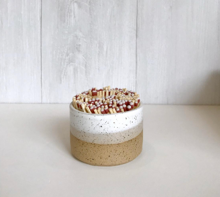Ceramic Wide Match Holder - Speckled & White