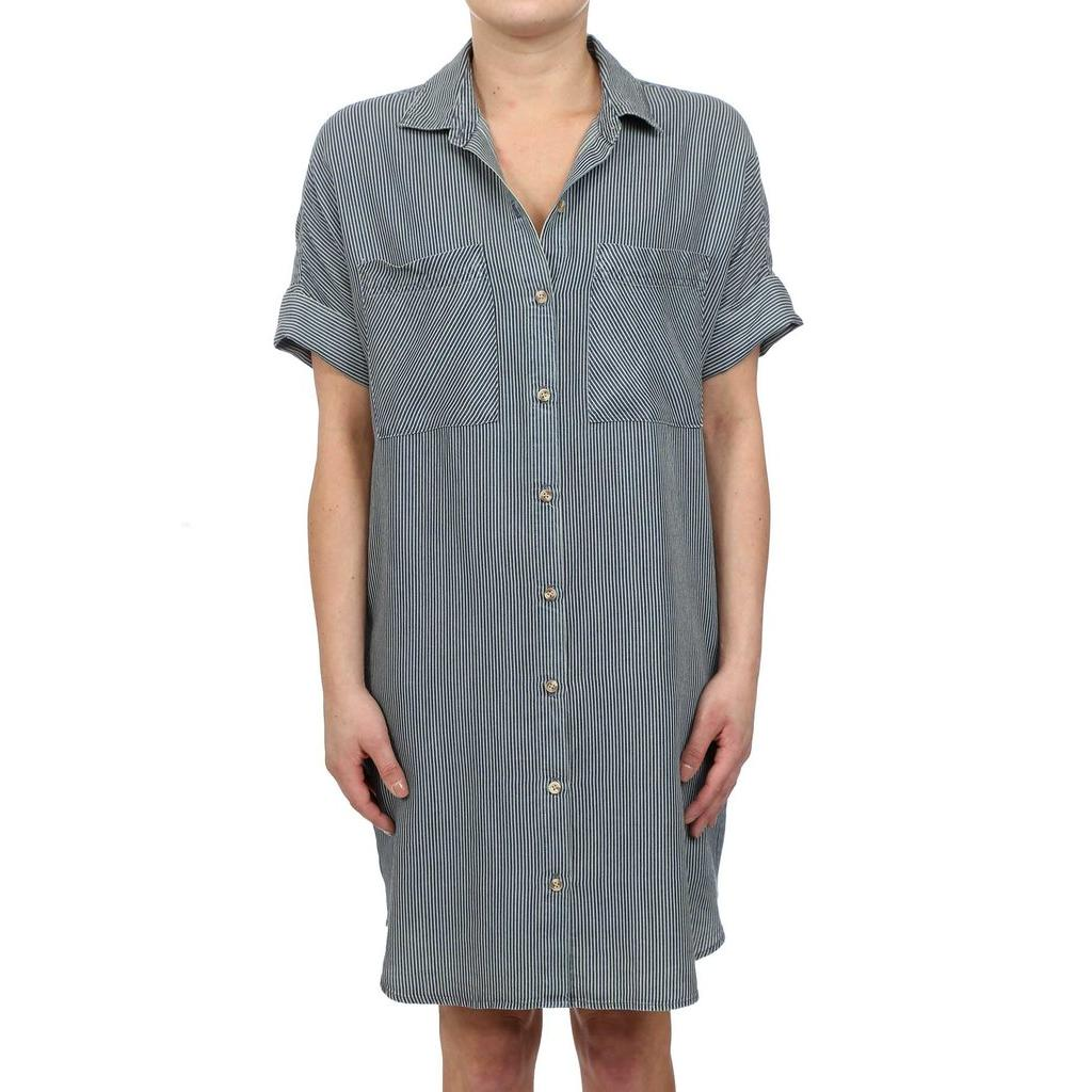 Micro Stripe Tencel Button Up Shirt Dress - Dark Wash