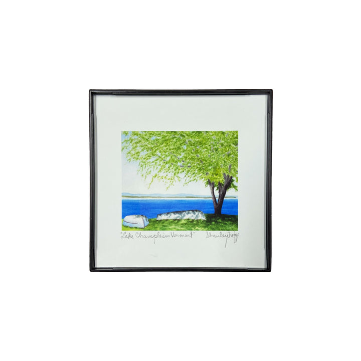 Tiny Framed 4x4 Print - Lake Champlain in North Hero, VT