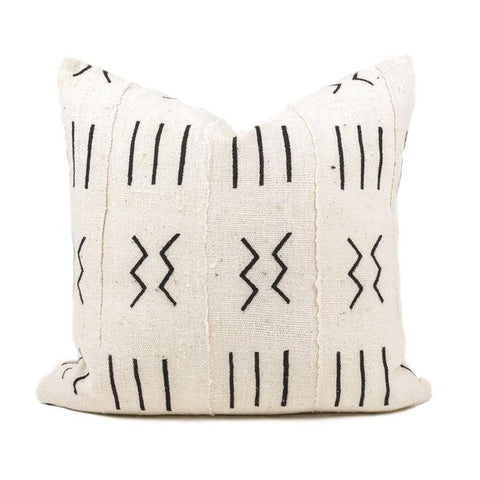 White and Black Elgona Mudcloth Pillow