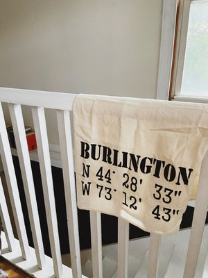 Burlington GPS Coordinates Tea Towel