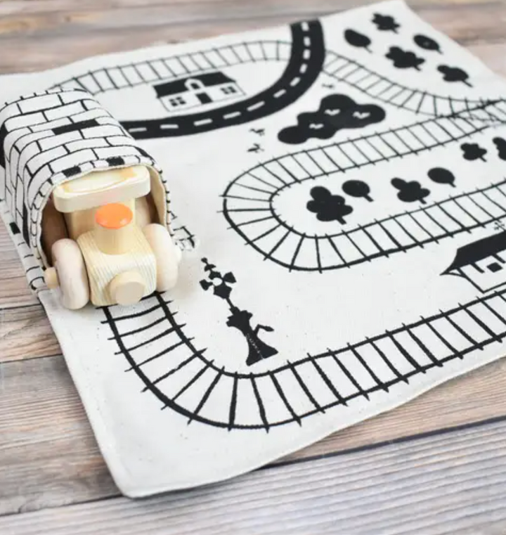 Cotton Train Playmat with Wooden Train