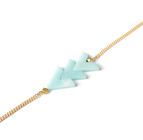 Triple V Stone Bracelet in Amazonite