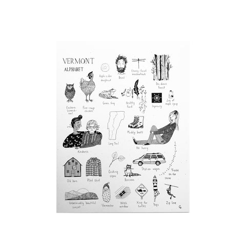 """This is Vermont"" Print Series- Vermont Alphabet 11 x 14"
