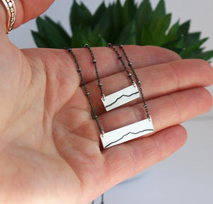 Large Camel's Hump Bar Neckpace - Oxidized Sterling Silver