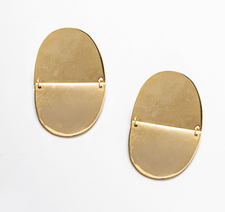 Gold Geo Oval Drop Earrings