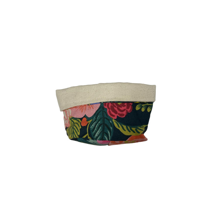 Extra Small Canvas Basket - Evergreen and Pink
