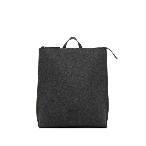 Charcoal Felt Backpack with Black Leather