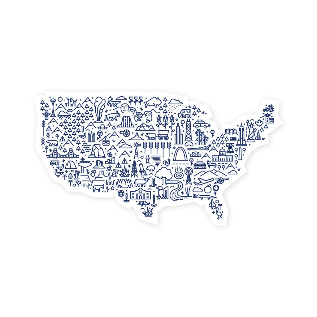 USA Icon Map Sticker