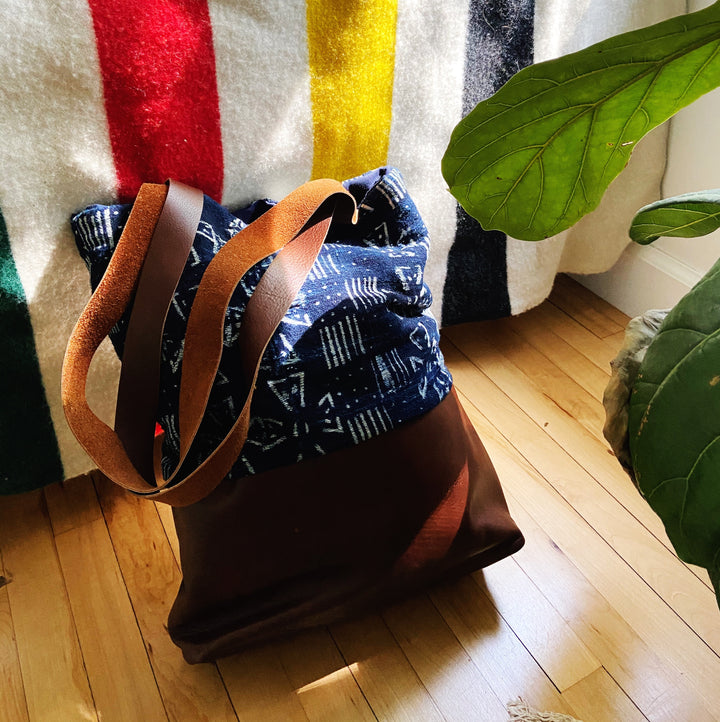 Van Reno Textiles Leather & Shibori Indigo Tote - Assorted Fabrics